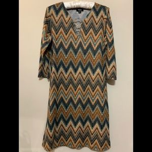 Tacera Brown Chevron Print Sheath Dress Size Small